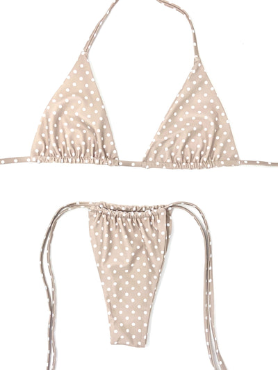 POPPI TRIANGLE TOP $29//POPPI SLIDE BOTTOM $29- NUDE POLKA DOT ( SET $58) - Berry Beachy Swimwear