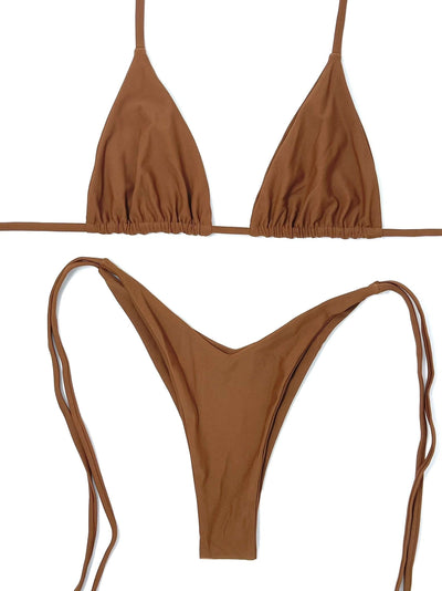 BERRY NUDE TRIANGLE TOP $29 // BERRY NUDE V CUT BOTTOM $29- CLAY ( SET $58) - Berry Beachy Swimwear
