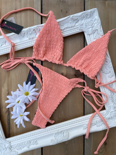 LANA BRALETTE TOP $29 // LANA MINIMAL BOTTOM $28- CORAL (SET $58) - Berry Beachy Swimwear