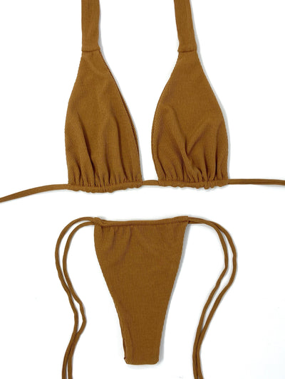 TEDDY RIBBED HALTER TOP $34// TEDDY RIBBED SLIDE BOTTOM $34- CARAMEL (SET $68) - Berry Beachy Swimwear