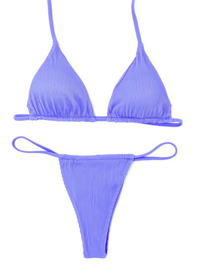 TAN KINI TRIANGLE TOP $29 // TAN KINI SLIDE BOTTOM $29- RIBBED LAVENDER BLUE( $58 SET) - Berry Beachy Swimwear