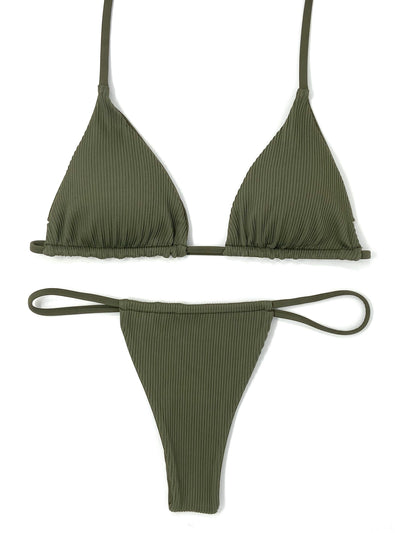 TAN KINI TRIANGLE TOP $29 // TAN KINI SLIDE BOTTOM $29- OLIVE ( $58 SET) - Berry Beachy Swimwear