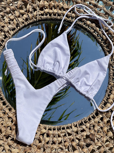 POISE TRIANGLE TOP $34 // POISE RUCHED V BOTTOM $39- MATTE WHITE SNAKE ( SET $73) ** PRE ORDER** - Berry Beachy Swimwear