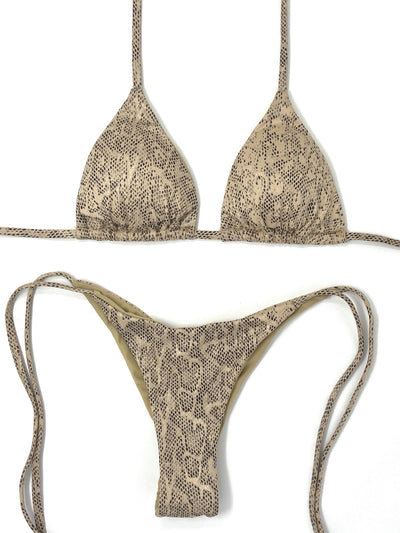 SLYTHER TRIANGLE TOP $29// SLYTHER SCRUNCH CHEEKY BOTTOM $29- NUDE SNAKE($58 SET) - Berry Beachy Swimwear