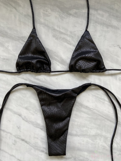 ONYX TRIANGLE TOP $29// ONYX THONG BOTTOM $29- MATTE BLACK SNAKE (SET $58) - Berry Beachy Swimwear