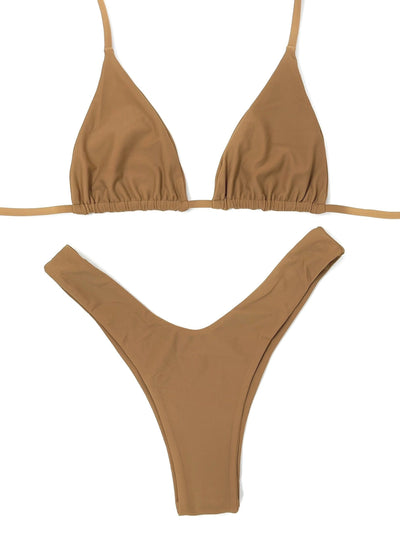 BERRY NUDE TRIANGLE TOP $29 // BERRY NUDE Y CUT BOTTOM $29- CAMEL ( SET $58) - Berry Beachy Swimwear
