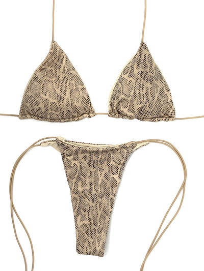 SLYTHER MICRO TRIANGLE TOP $29// SLYTHER MICRO THONG BOTTOM $29- NUDE SNAKE($58 SET) - Berry Beachy Swimwear