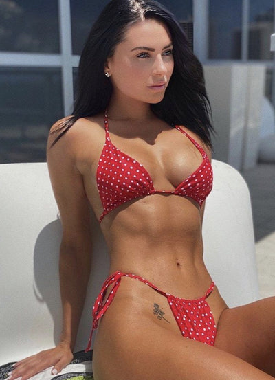 POPPI TRIANGLE TOP $29//POPPI SLIDE BOTTOM $29- RED POLKA DOT (SET $58) - Berry Beachy Swimwear