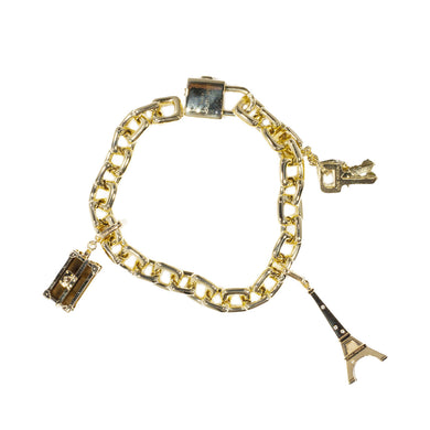 LOUIS VUITTON 18K YELLOW GOLD CHARM BRACELET