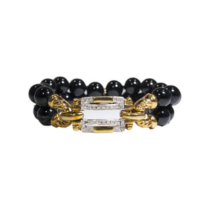 """LOUISE"" ONYX BEAD & DIAMOND GOLD BRACELET"