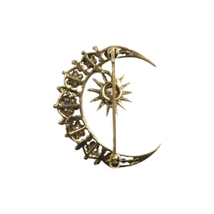 """THE AILISH"" VINTAGE MOON & STAR DIAMOND BROOCH"
