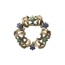"Load image into Gallery viewer, ""THE APOLLINE"" VINTAGE VICTORIAN EMERALD & TANZANITE WREATH BROOCH"