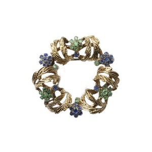 """THE APOLLINE"" VINTAGE VICTORIAN EMERALD & TANZANITE WREATH BROOCH"