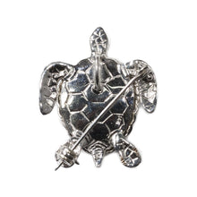 "Load image into Gallery viewer, ""RANIA"" WHITE GOLD TURTLE PENDANT & BROOCH"