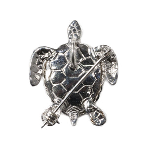 """RANIA"" WHITE GOLD TURTLE PENDANT & BROOCH"
