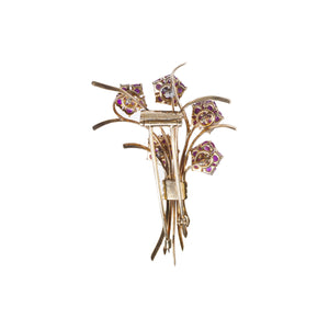 """LILITH"" VINTAGE TRABERT & HOEFFER/MAUBOUSSIN RUBY & DIAMOND FLOWER BOUQUET BROOCH"
