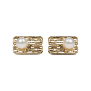 """GEORGE"" VINTAGE PEARL GOLD CUFFLINKS"