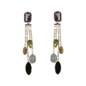 """JAZLYNN"" COLORED GEMSTONE DANGLE EARRINGS"