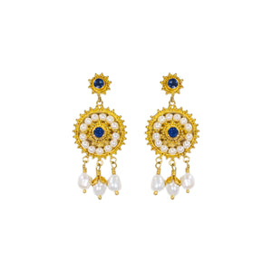 """CLAUDETTE"" VINTAGE SAPPHIRE & PEARL EARRINGS"