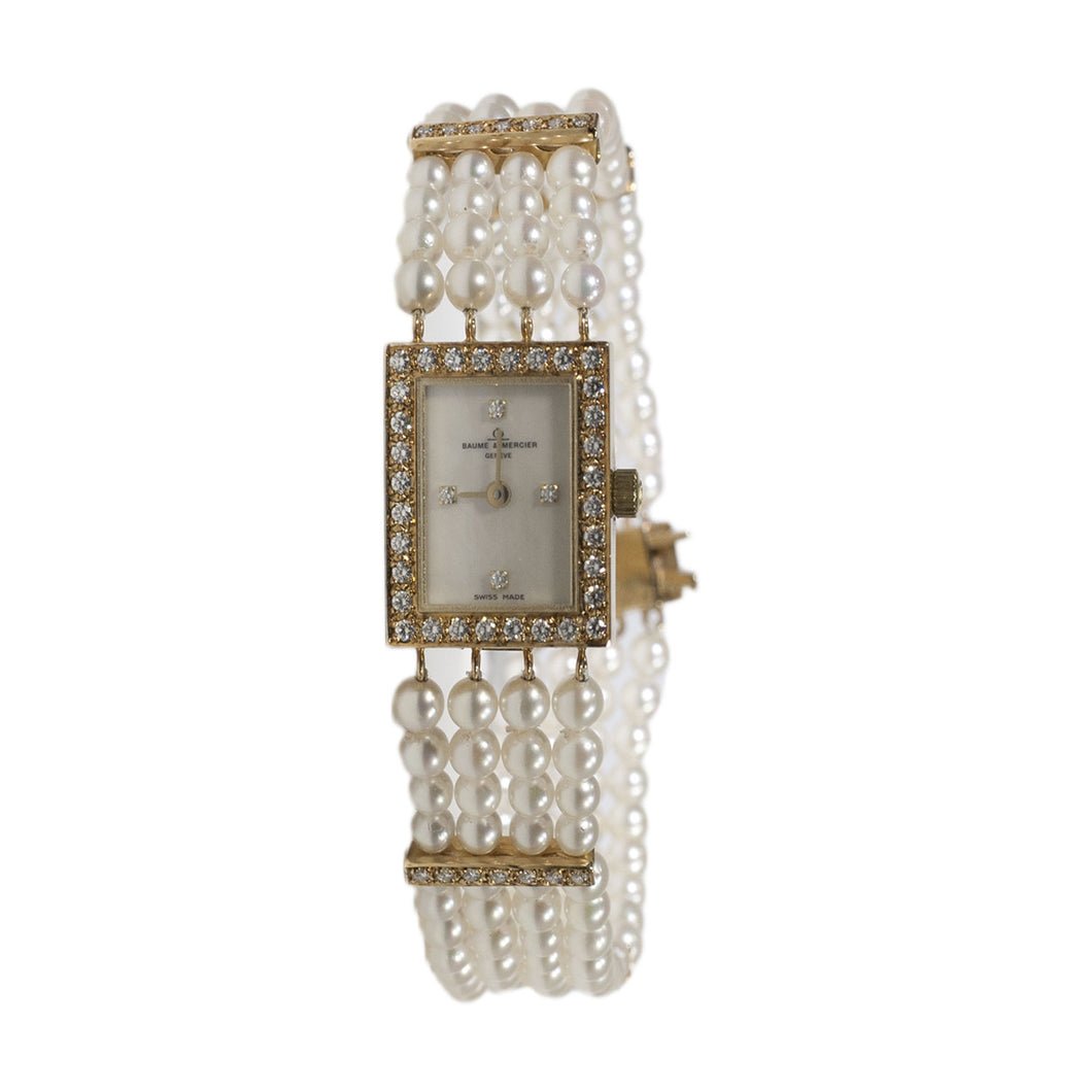 VINTAGE BAUME & MERCIER PEARL & DIAMOND LADIES BRACELET WATCH