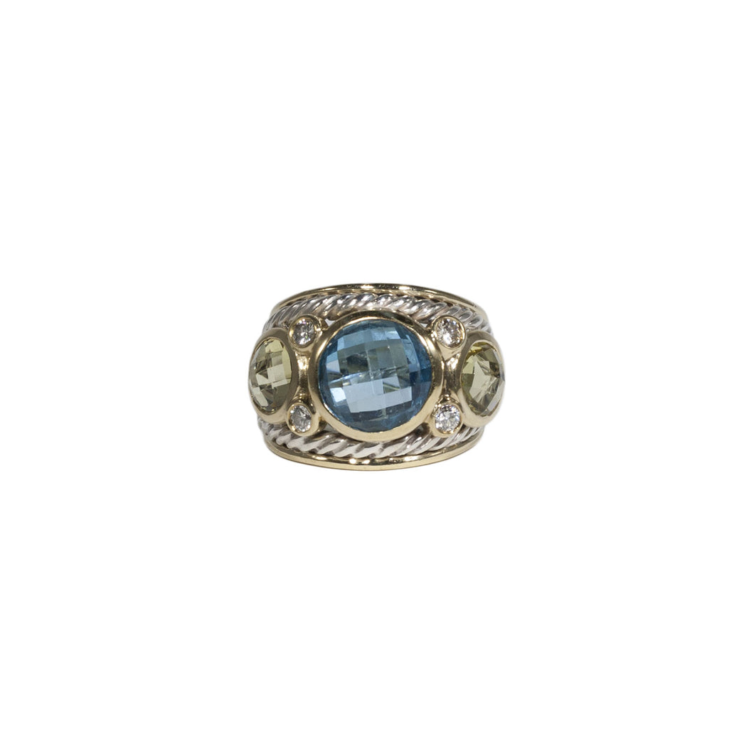 DAVID YURMAN BLUE TOPAZ, CITRINE & DIAMOND RING