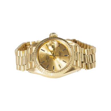 LADIES YELLOW GOLD OYSTER PERPETUAL DATEJUST ROLEX
