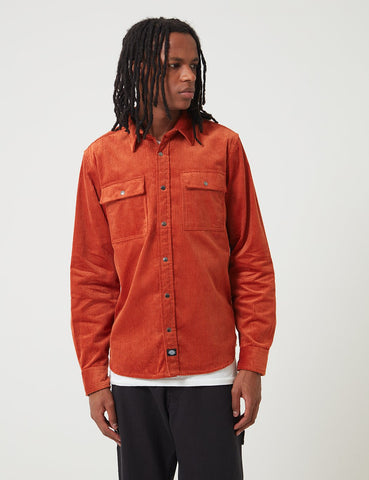 Dickies Ivel Cord Shirt - Rust Red