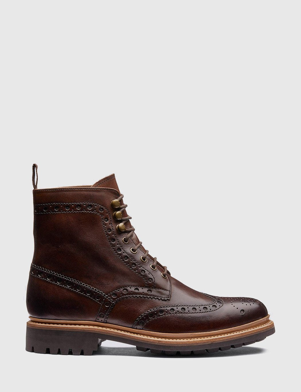 Grenson Fred Brogue Boot (Hand Painted) - Dark Brown