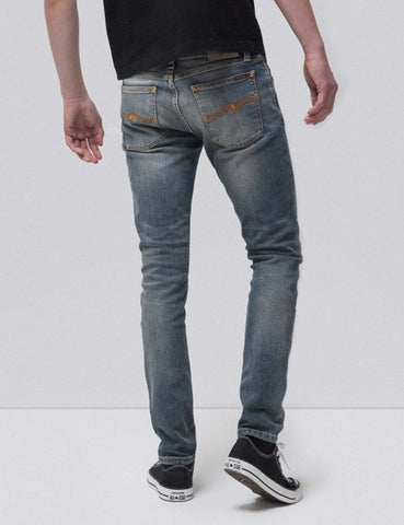 Nudie dünner Lin Jeans (Super Enge) - Mid Authentic Power Blue