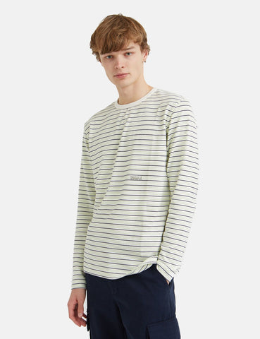 Wood Wood Viggo Langarm-T-Shirt (Striped) - Off White