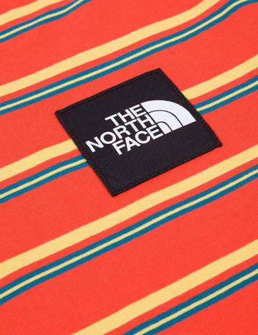 North Face Boruda Langarm-T-Shirt (Stripe) - Fiery Red