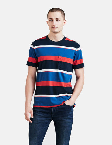 Levis Set-In Sunset Taschen-T-Shirt (Stripe) - Rugby-Kleid Blues / Galaxy Blau