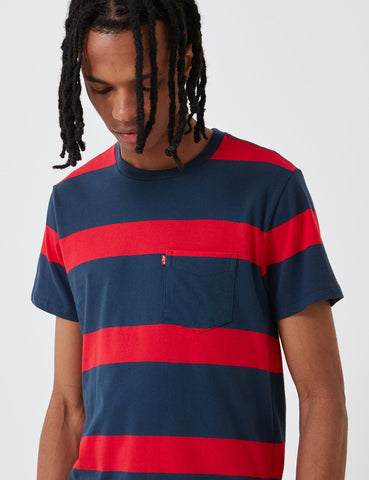 Levis Set-In Sunset Taschen-T-Shirt (Stripe) - Dress Blues / Lychee Red