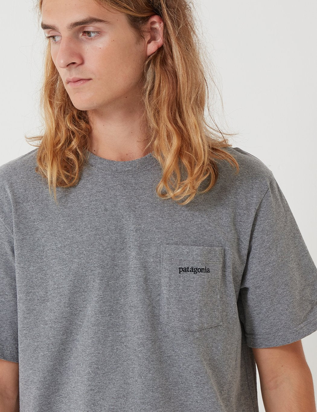 Patagonia Linie Ridge Logo-Tasche Responsibili-T T-Shirt - Gravel Heather Grey