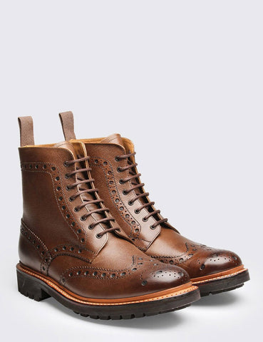 Grenson Fred Brogue Boot (Commando Sole) - Brown