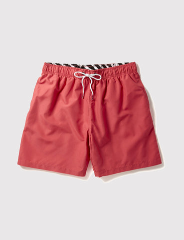 Boardies Drawstring Swim Shorts (Mid-Length) - Coral Red