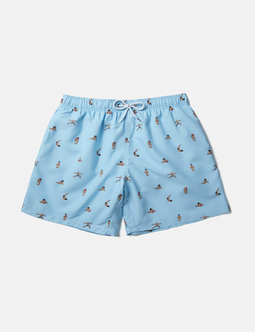 Boardies x AMH Yoga Badeshorts (Short) - Blau
