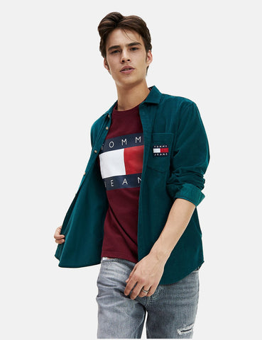 Tommy Hilfiger Cord-Hemd - Atlantic Deep Green