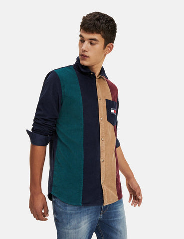 Tommy Hilfiger Cord Colourblock Shirt - Black Iris / Multi