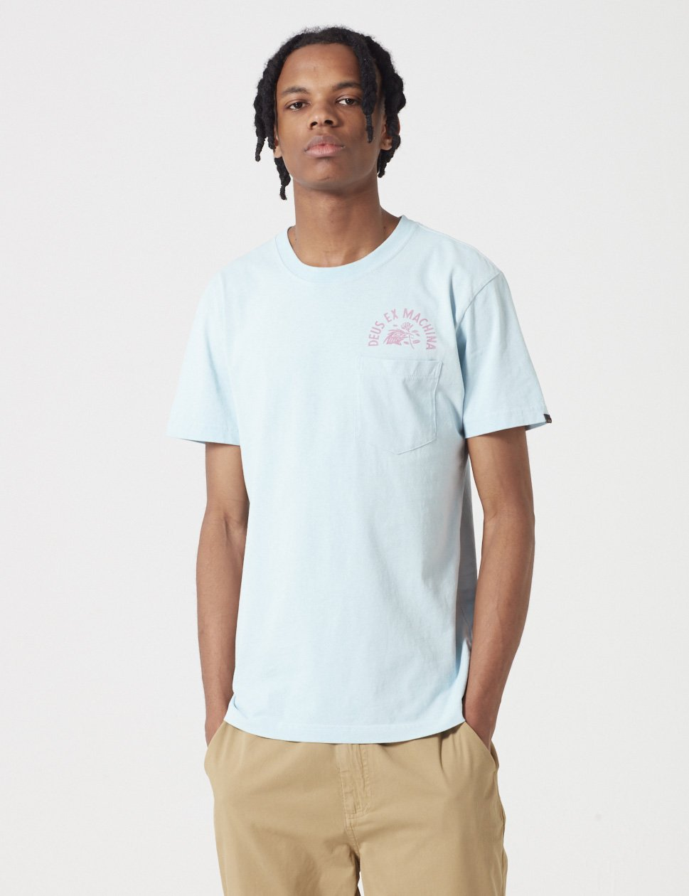 Deus Ex Machina sunbleached Begeisterung T-Shirt - Sky Blue / Rose Red