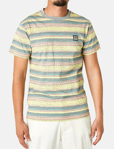 Deus Ex Machina Sonnenaufgang T-Shirt (Stripe) - Lemon Combo