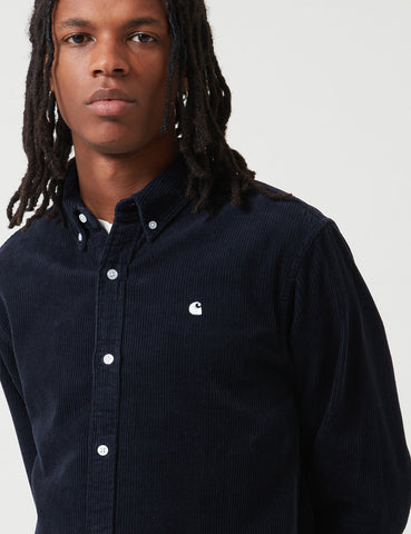 Carhartt-WIP Madison Cord Shirt - Dark Navy Blue / White