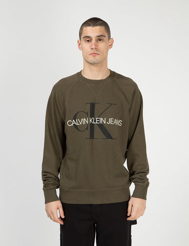 Calvin Klein-Monogramm-Logo Sweatshirt - Grape Leaf Green