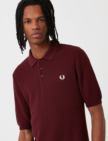 Fred Perry Neuauflagen Texture Knit Polo-Hemd - Aubergine Lila