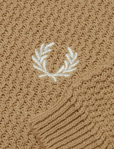 Fred Perry Neuauflagen Texture Knit Polo-Hemd - Biscuit Brown