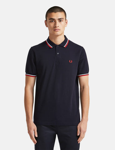 Fred Perry Twin Tipped Polo Shirt - Navy / Weiß / Rot