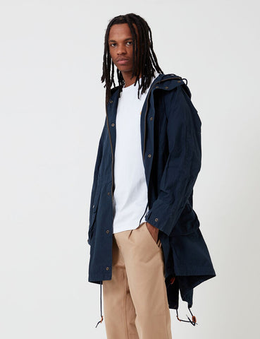 Barbour x Engineered Garments Gewaschene Highland Parka - Marine-Blau