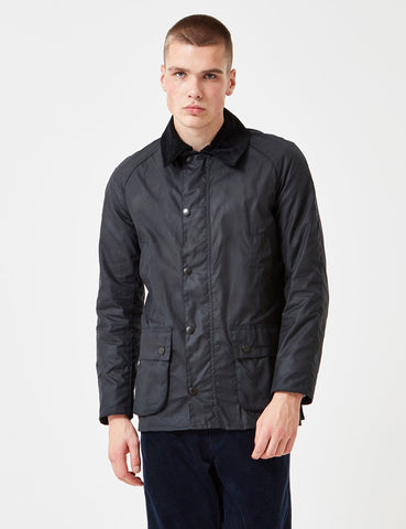 Barbour Ashby Wax Jacket - Marine-Blau