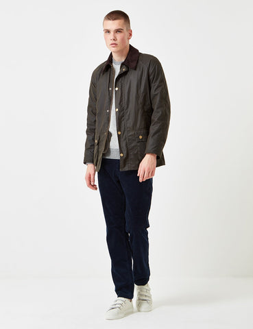 Barbour Ashby Wax Jacket - Olivgrün