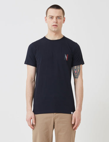 Norse Projects Niels Multi-Logo-T-Shirt - Dark Navy Blau